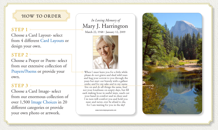 How to order Memorial Prayer Cards