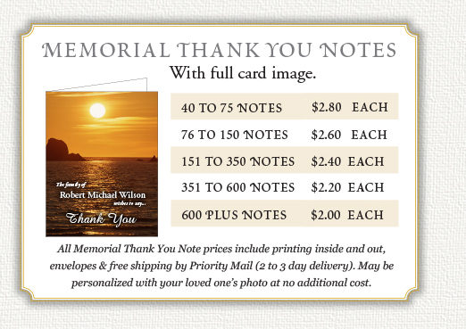 memorial thank you notes by memorial prayer cards