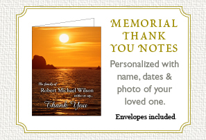 Memorial Thank you notes for after a funeral. Personalized thank you notes with name, dates and a photo of your loved one. Envelopes included.