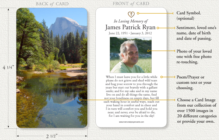 memorial prayer cards