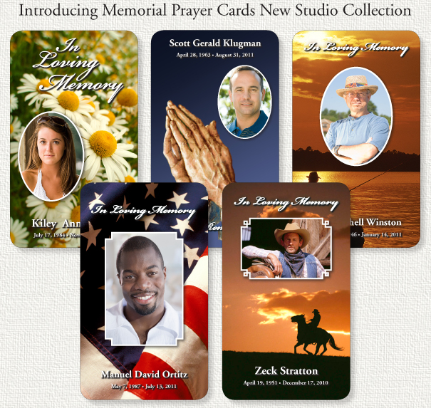 Studio collection of custom memorial prayer cards.