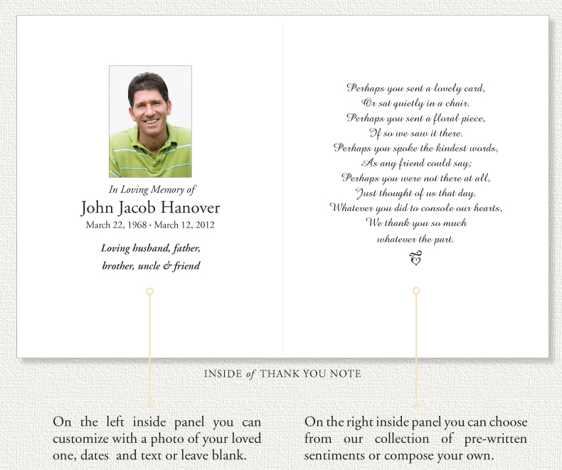 and copy you choose. The thank you notes are printed on a heavy card ...
